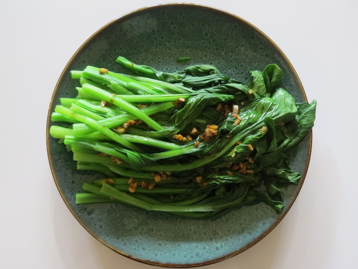 Yu Choy with Sesame, Garlic, Soy Sauce